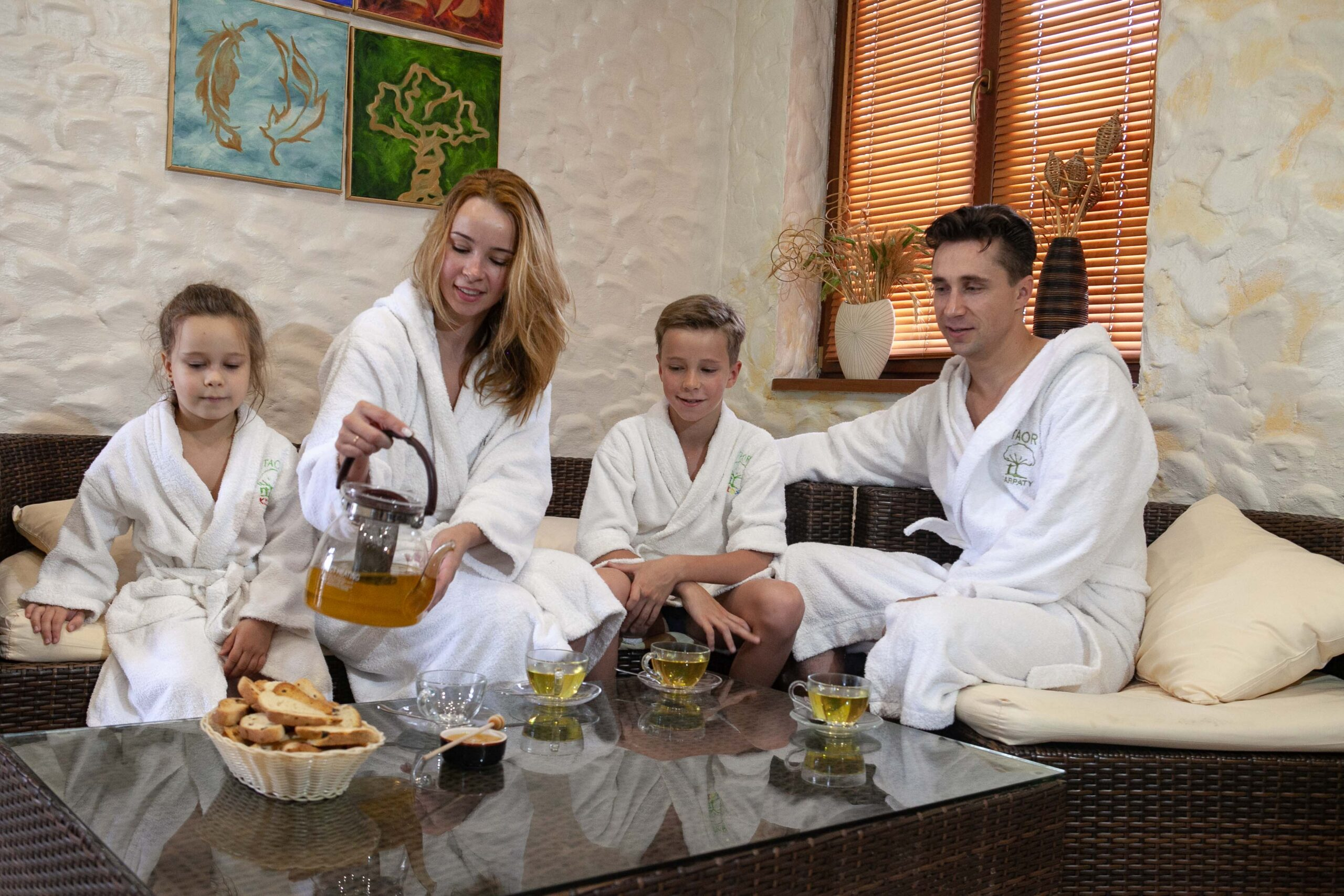 family in sauna