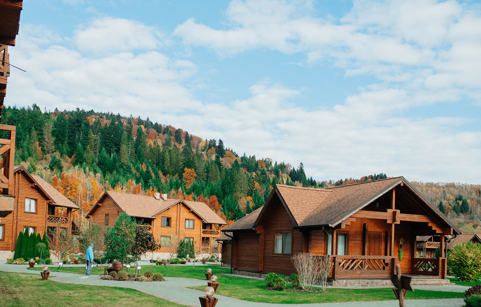 Family vacation in autumn in the Carpathians